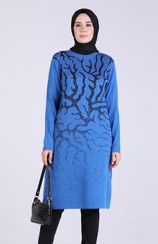Minahill saksońska niebieska tunika 1094-01 tanie i dobre opinie Aplikacje Bluzki i koszule Octan Dla dorosłych