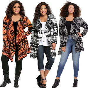 Лидер продаж, женский осенне-зимний свитер, кардиган, пальто, женский длинный шерстяной вязаный уличный кардиган с отворотом и принтом чере...