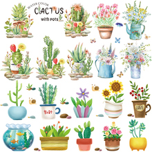 Multicolor Potted plants Wall Stickers for Living room Removable Wall Decals Bedroom Vinyl Sticker Eco-Friendly DIY Wall Murals blue peony wall stickers bedroom living room tv background diy vinyl plants wall decals eco friendly removable diy wall murals