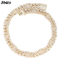 JINAO Men 14mm Iced Out Chain Zircon Miami Cuban Link Baguette Zircon Necklace Bling Hip Hop Jewelry Gold Silver Rosegold 16 30