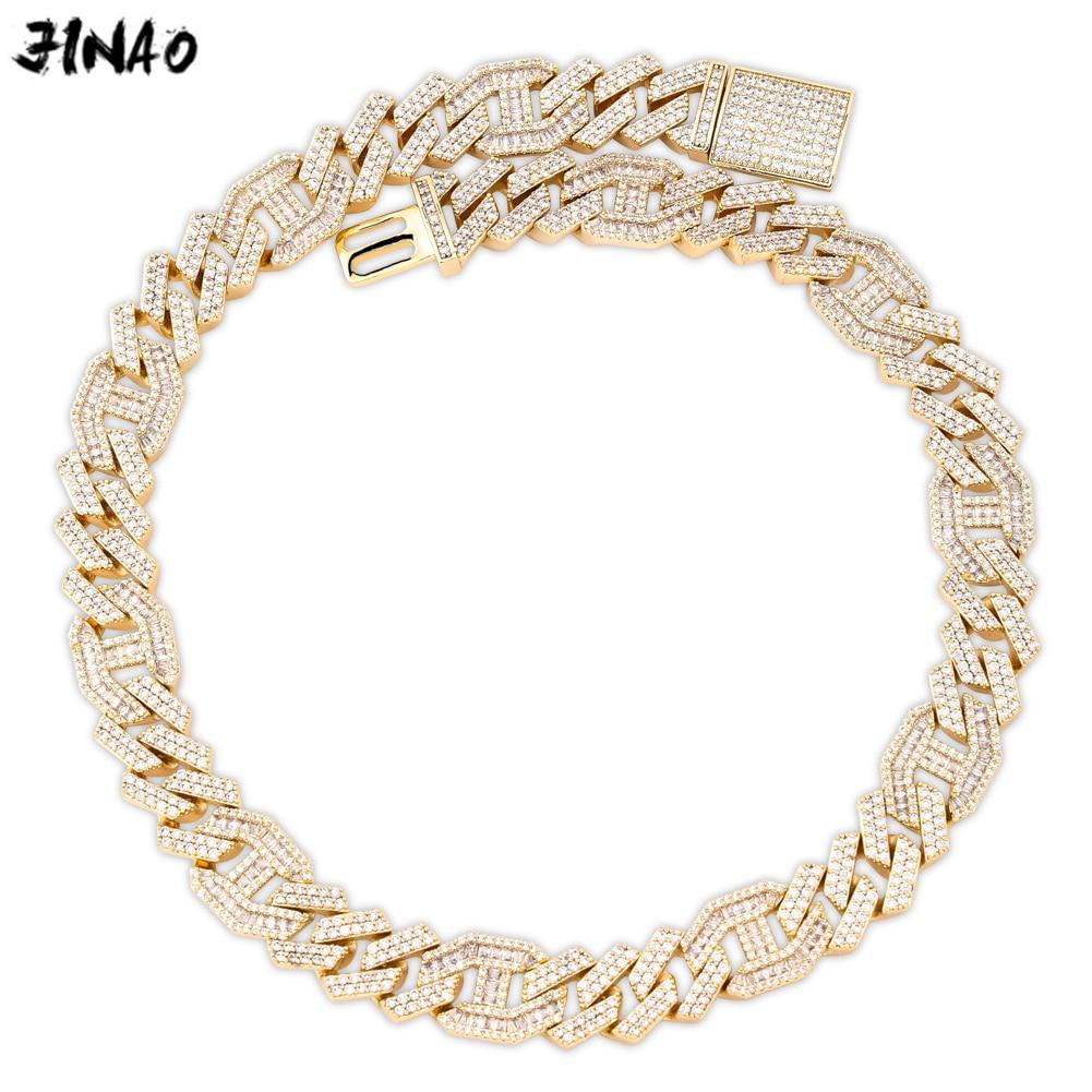 JINAO hommes 14mm chaîne glacée Zircon Miami lien cubain Baguette Zircon collier Bling Hip Hop bijoux or argent rose or 16-30