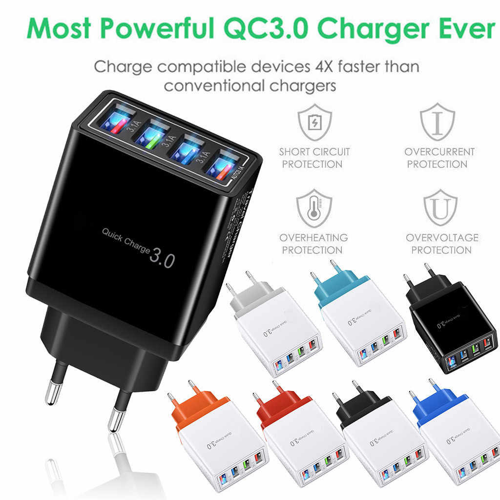 4 Port Fast Quick Lading QC 3.0 USB Hub Wall Charger 3.5A Power Adapter EU/US Plug Universele Compatibel voor IOS Android