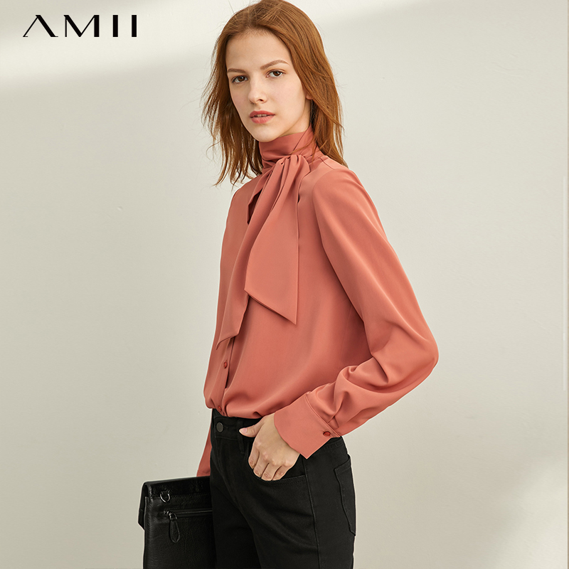 Amii  French Shirt Autumn 2019 New Straight Cylinder Long Sleeve Pure-color Button Shirt 11930369