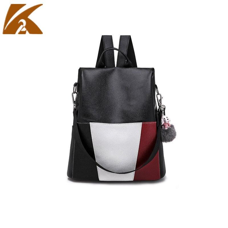 KVKY mode Patchwork couleur sacs d'école pour les adolescentes Anti-vol voyage sac à dos sac à dos femmes en cuir sac à dos sacs à dos