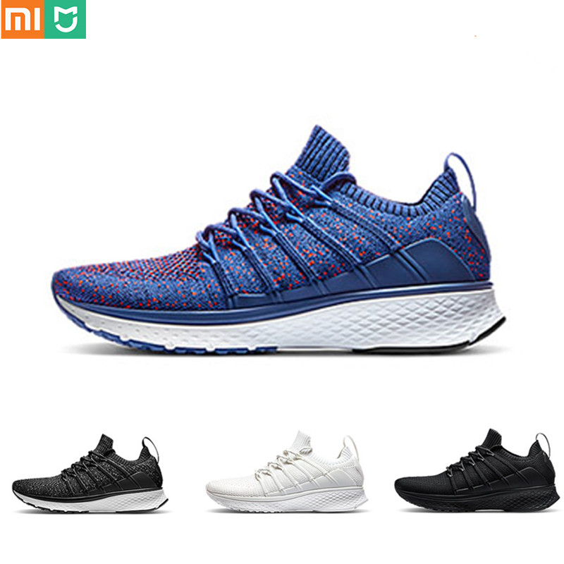 In Stock Xiaomi Mijia Smart Sneaker Men Sports Shoes 2 Uni-Mould Technique New Fishbone Lock System Elastic Knitting Vamp