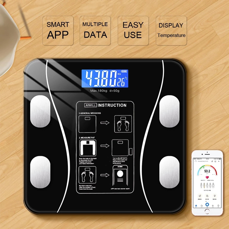 Hot New Body Bathroom Fat Scale Smart Electronic Scales BMI Composition Precise Mobile Phone Bluetooth Analyzer Led Digital