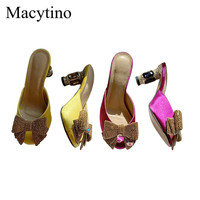 High quality summer Sandals Women Shoes with Rhinestone Embellished Heel Beautiful Bowtie Slides