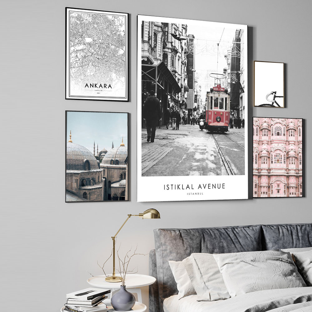 Pink Architecture istiklal avenue Poster Blue Mosque Ankara Map Wall Art Canvas Print Travel Picture Painting Modern Home Decor