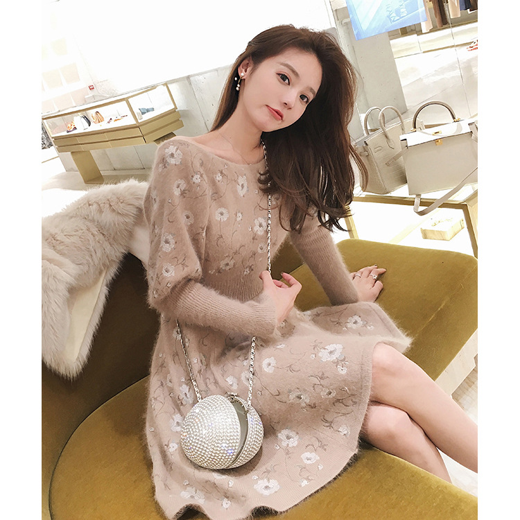 Heavy Industry Embroidered Woolen Dress 2019 New Bottom Floral  O-Neck Sweater Dresses Women