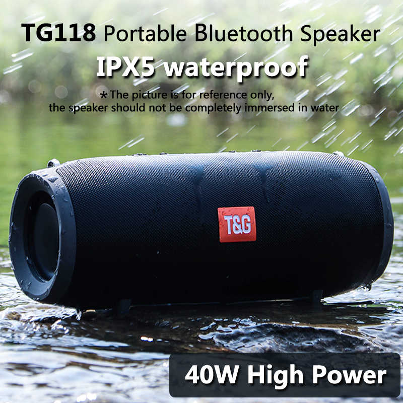 40 واط TG118 سمّاعات بلوتوث خارجيّ لاسلكيّ عمود مضخم صوت موسيقى مركز BoomBox قابل للنقل ثلاثية الأبعاد ستيريو 3600mAh بطارية FM/TF/AUX