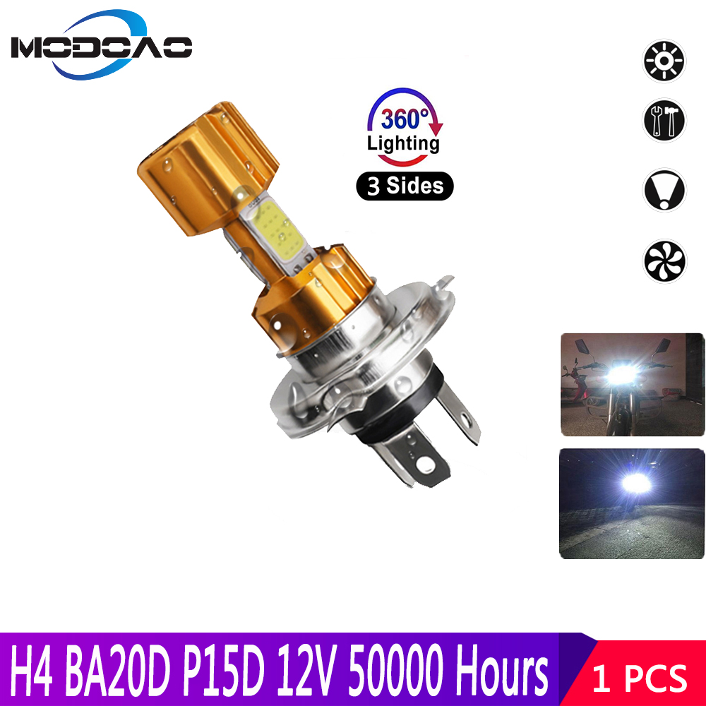 Motorcycle Headlight  H4 BA20D COB 12V LED Moto Farol Moto High/Low Beam Led Bulbs 1200LM Super Bright  Autobike Fog Lamp
