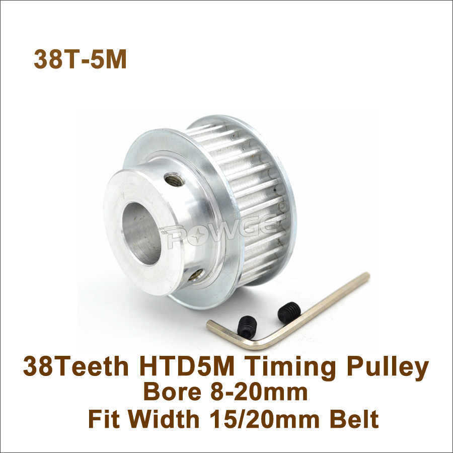 5M38T Timing Belt Drive Pulley Wheel Bore 8-20mm Pitch 5mm for 15//20mm Wide Belt