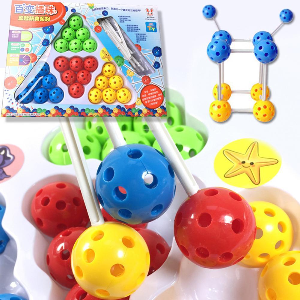 2019Colorful Balls Sticks DIY Building Blocks Construction Set Educational Kids Toy Gift For Children Children Christmas Gift