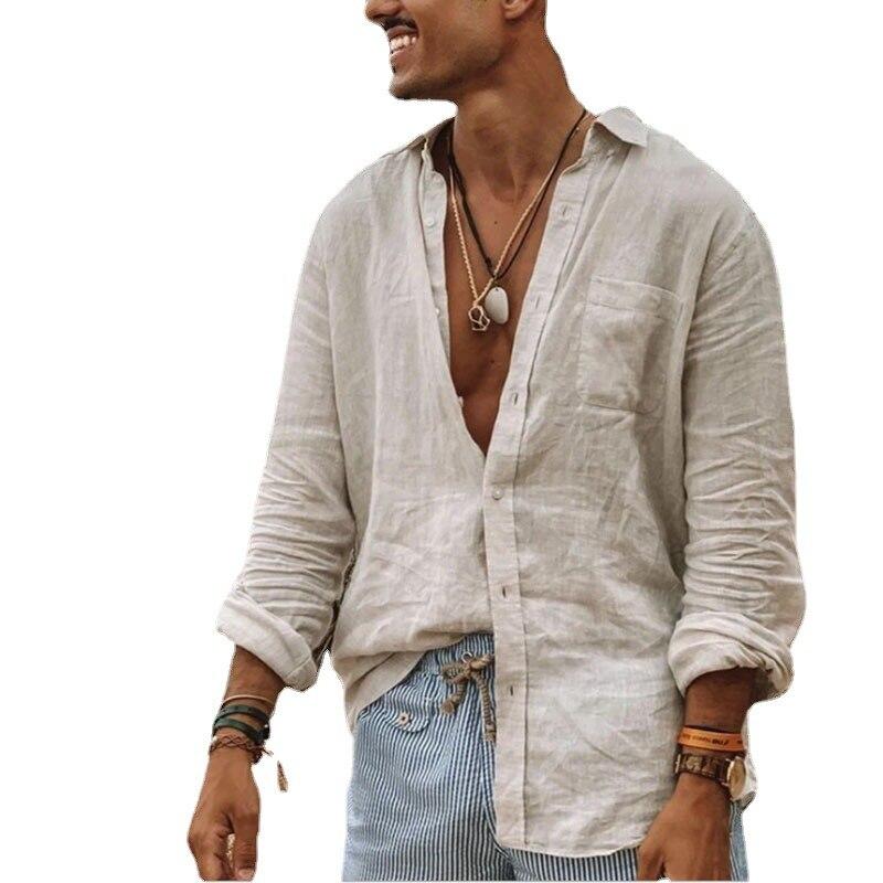 Рубашка мужская с длинным рукавом, Стильная сорочка из хлопка и льна, на тонких пуговицах, Повседневная блуза в европейском стиле, большие р...