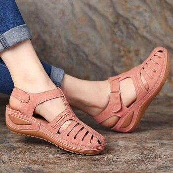 Женские сандалии на танкетке, повседневная обувь на платформе, гладиаторы, большой размер 44, на лето