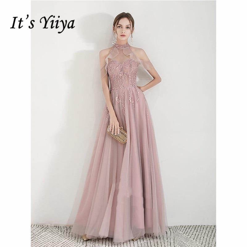 It's Yiiya Evening Dress 2019 Elegant Halter Short Sleeve A-Line Dresses Illusion Plus Size Women Party Robe De Soiree E1086
