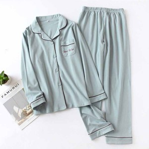 Image 2 - Lovers Pajamas Set Solid Color Turn down Collar Cardigan+Pants For Men And Women Couples Homewear Sleepwear Loose Casual Wear