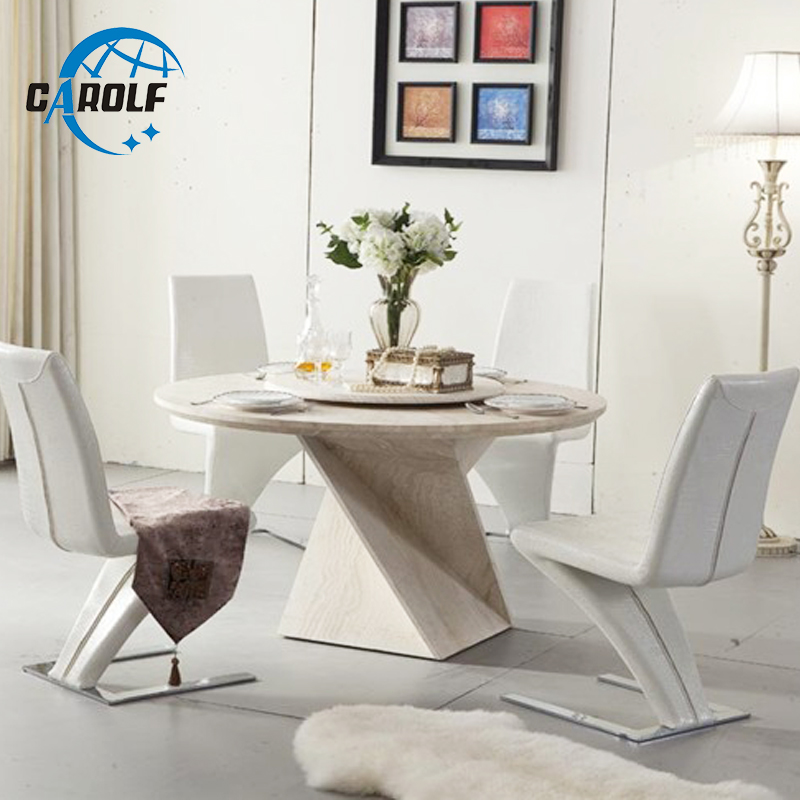6 Z Shape Dining Chairs Room Decorative Modern Dining Table Nordic Round Marble Table With Lazy Susan