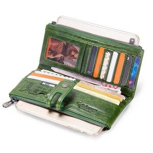 Image 2 - Зеленый красный клатч модный женский кошелек из натуральной кожи, женские длинные кошельки с отделением для карт, с отделение для монет на молнии для iPhone 8 Plus