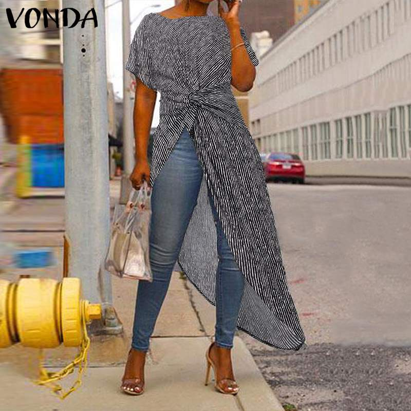 Asymmetrical Tops 2020 Women's Blouse Summer VONDA Sexy Split Stripe Printed Short Sleeve Shirts Bohemian Blusas Oversized