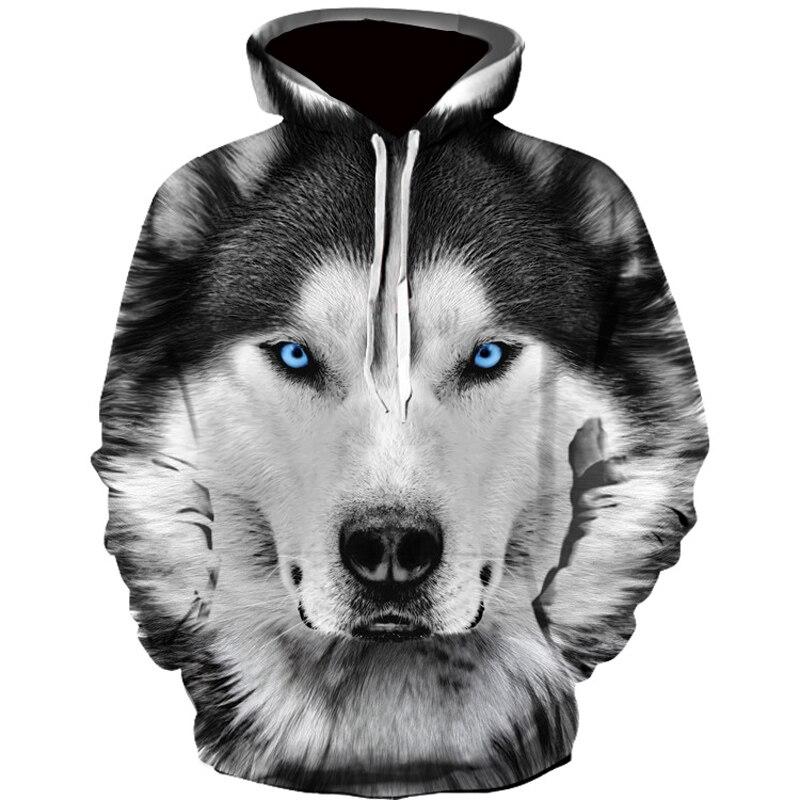 New Arrival Fashion Mens Hoodies 3D Wolf Printed Loose Fit Autumn Sweatshirt For Men Streetwear Hoody Funny Hoodie Brand