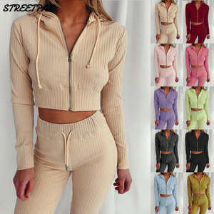 Ribbed Knitted Women 's Set Long Sleeve Hoodie Sweatshirt Pencil Pants Suit Active Tracksuit Two Piece Set Fitness Outfits 2020