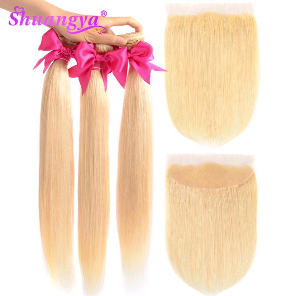Shuangya Hair Peruvian Straight Hair Bundles 613 Bundles With Frontal Remy Hair Frontal With Bundles 100% Human Hair Extension
