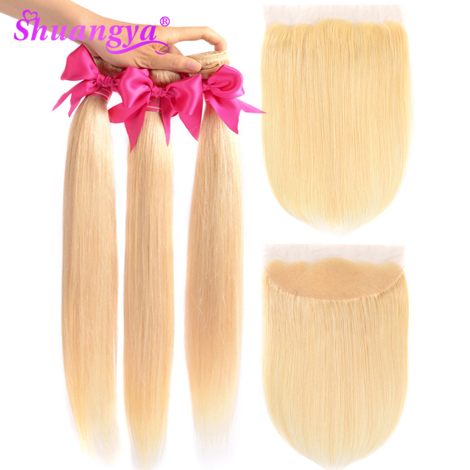 Shuangya Hair Peruvian Straight Hair Bundles 613 Bundles With Frontal Remy Hair Frontal With Bundles 100% Human Hair extension image