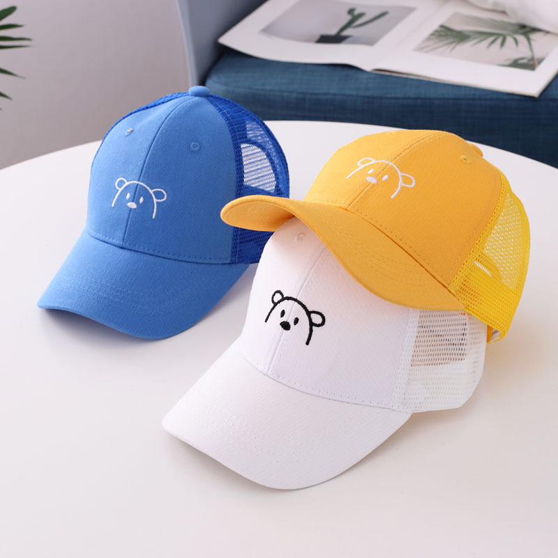 2020 New Children's baseball cap cartoon bear children's net cap summer new Korean boys and girls mesh sun hat kids snapback(China)