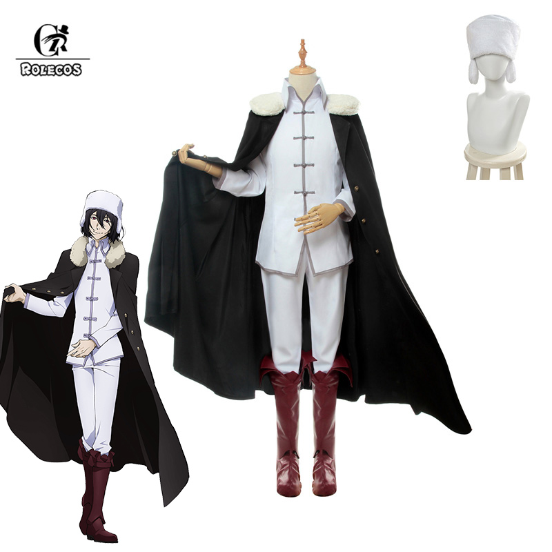 ROLECOS Anime Bungou Stray Dogs 3rd Season Cosplay Costume Fyodor D Costume White Uniforms With Cloak For Men Cosplay Costume