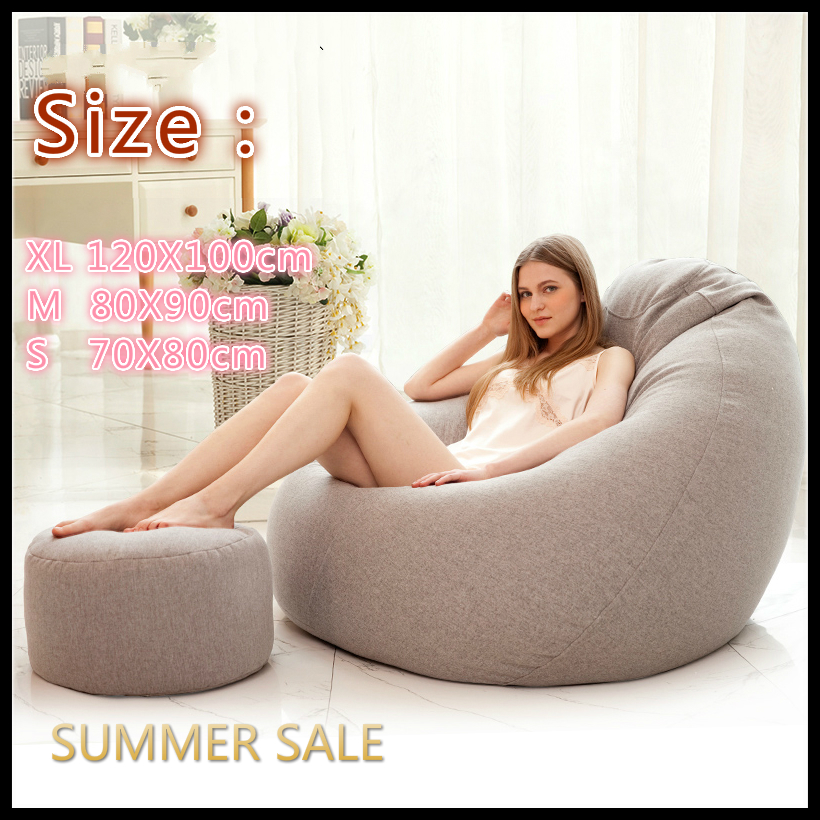Only Large Small Lazy Sofas Cover Chairs without Filler Linen Cloth Lounger Seat Bean Bag Couch Tatami Living Room 1