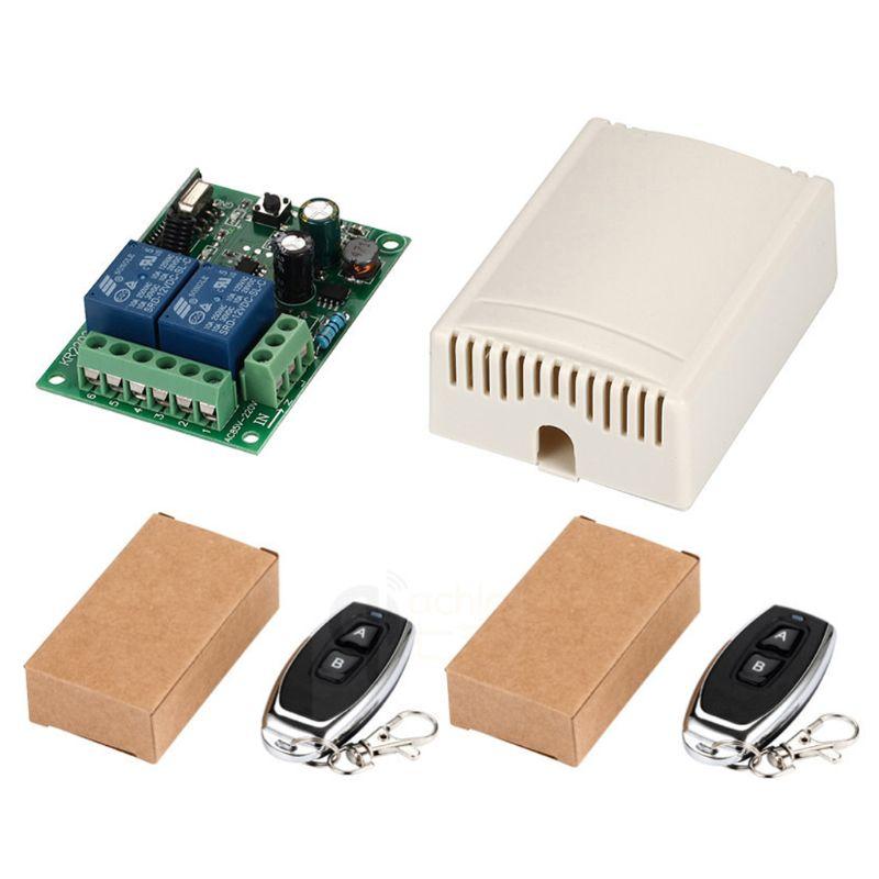 1Set 433Mhz Drahtlose Fernbedienung Schalter AC 220 2CH Relais Empfänger Modul