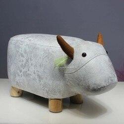 Creatieve Mode Kalf Kruk Olifant Hippo Bench Schoenen Bench Kruk Kinderen Cartoon Kruk Massief Hout Dier Kruk