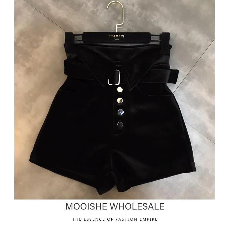 Mooishe Spring Women Velvet Shorts High Waist Edge Belt Velvet Woman Blue Black Shorts