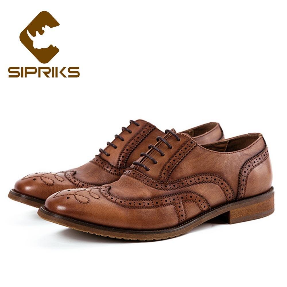 Sipriks hommes en cuir véritable complet richelieu chaussures classique robe Oxfords patron d'affaires bureau bal costume chaussures bout pointu