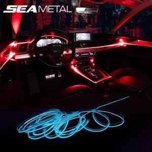 Image 1 - Светильник для салона автомобиля, с приложением для управления звуком, RGB режим, цветное автоматическое украшение, полосы для комнатных ламп, универсальные 2 м/4 м/6 м