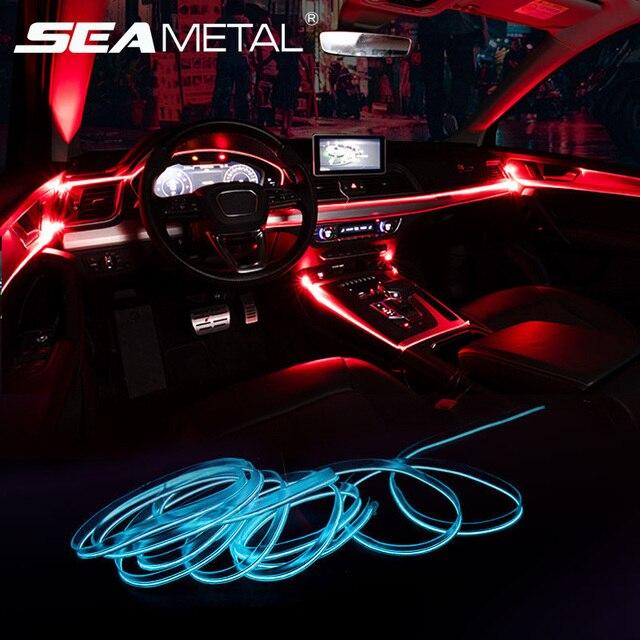 Светильник для салона автомобиля, с приложением для управления звуком, RGB режим, цветное автоматическое украшение, полосы для комнатных ламп, универсальные 2 м/4 м/6 м