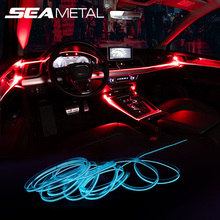 Interior Car Atmosphere Light Strip APP Sound Control RGB Mode Colorful Auto Decoration Ambient Lamp Strips Universal 2m/4m/6m