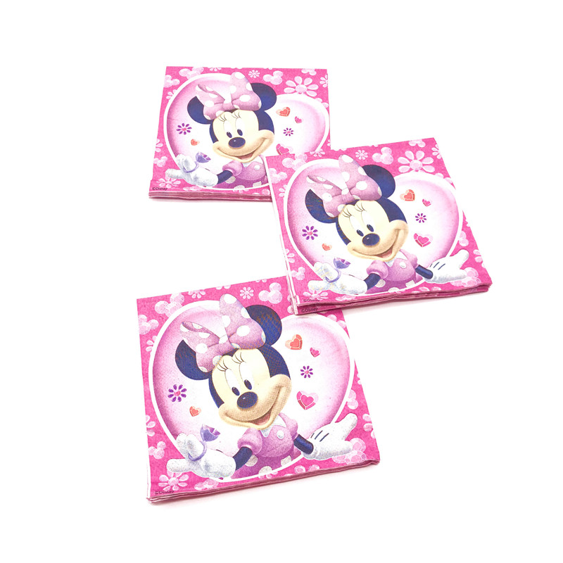 16pcs Disney Minnie Mouse 16*16 cm Napkins Girls Birthday Party Decorations Minnie Mouse Disposable Paper Towel Tableware Supply