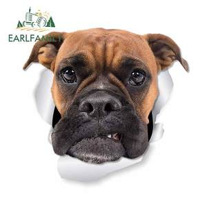 EARLFAMILY 13cm x 12.1cm For Boxer Dog Motorcycle Car Stickers Waterproof Decal Scratch-proof Decals Bumper Decoration