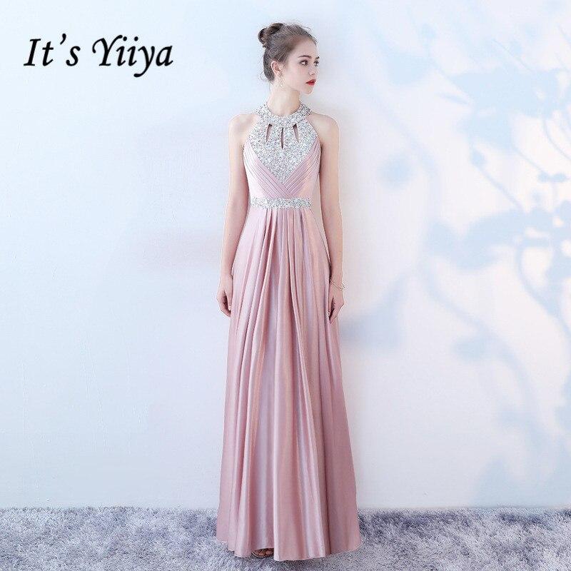 It's Yiiya Evening Dress Luxury Crystal Sleeveless Women Party Dresses Pink Halter Formal Gowns Backless Robe De Soiree K170
