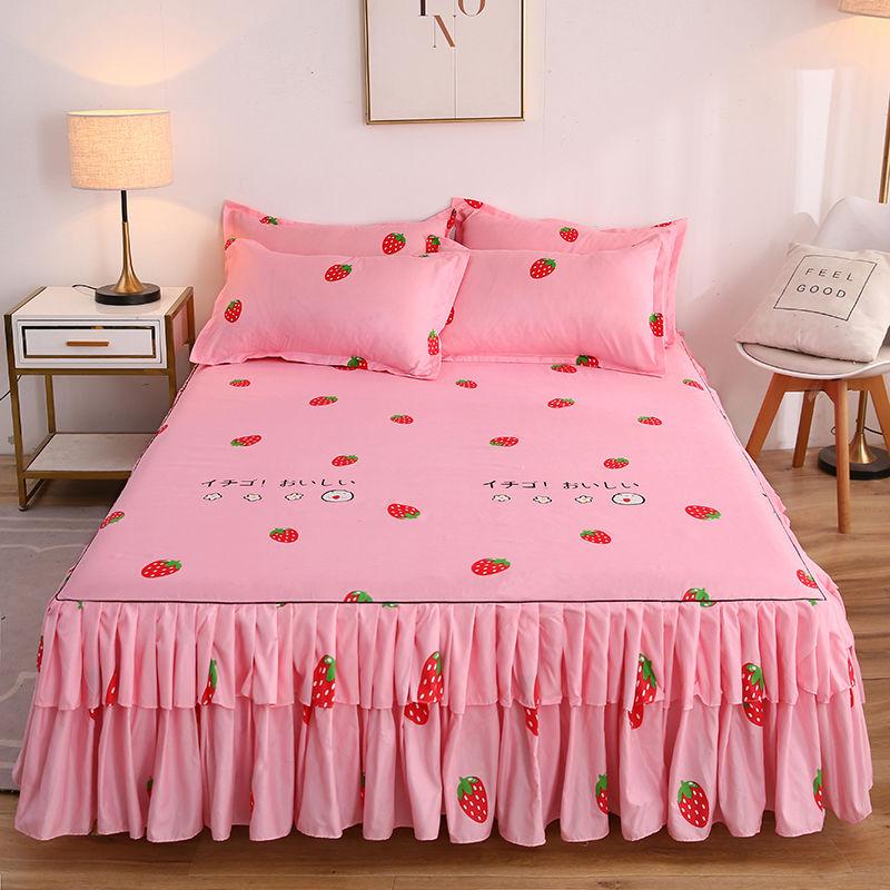 Summer Thin Textile Korean Version Ruffle Bed Skirt Sheet Covers Modern Cute Bedding Set Cover King/Queen Size 3pcs Set J8072