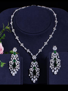 Beaqueen Necklace-Set Drop-Earrings Wedding-Jewelry Crystal Micro-Pave Green Cz-Stone
