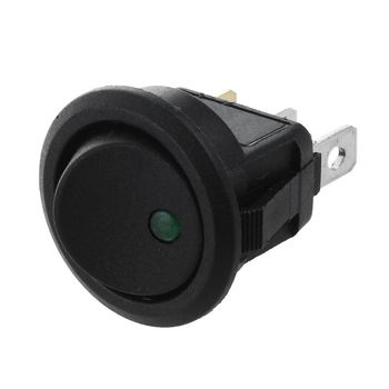 DC 12V LED luz Auto basculante redonda en/OFF interruptor SPST interruptor verde