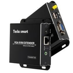 Extensor USB VGA KVM 300m 1080P 60Hz largo alcance 984ft sobre Cat5e Cat6 Ethernet Cable VGA extensor (hasta 300m, emisor + receptor)