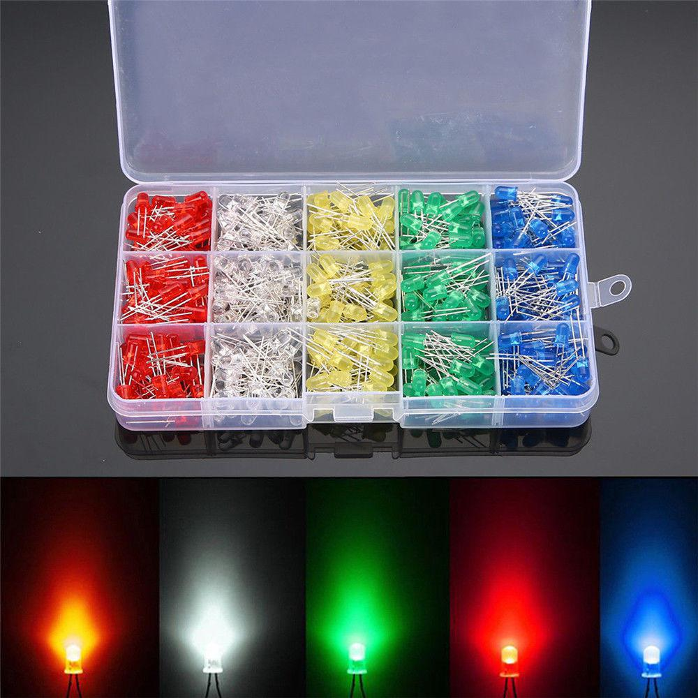 500Pcs/box 5mm LED Light White/Yellow/Red/Blue/Green Assortment Diodes Kit DIY Box Packing