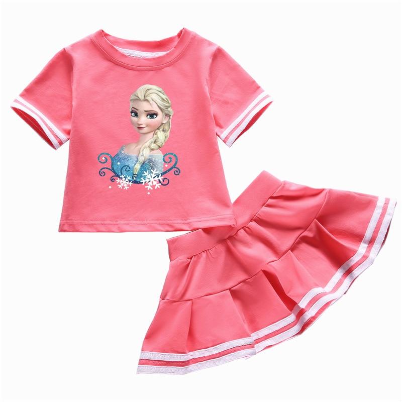Children Clothing Summer Toddler Girls Clothes Elsa T-shirt+Skirt 2pcs Kids Clothes Tracksuit Suit For Girls Clothing Sets