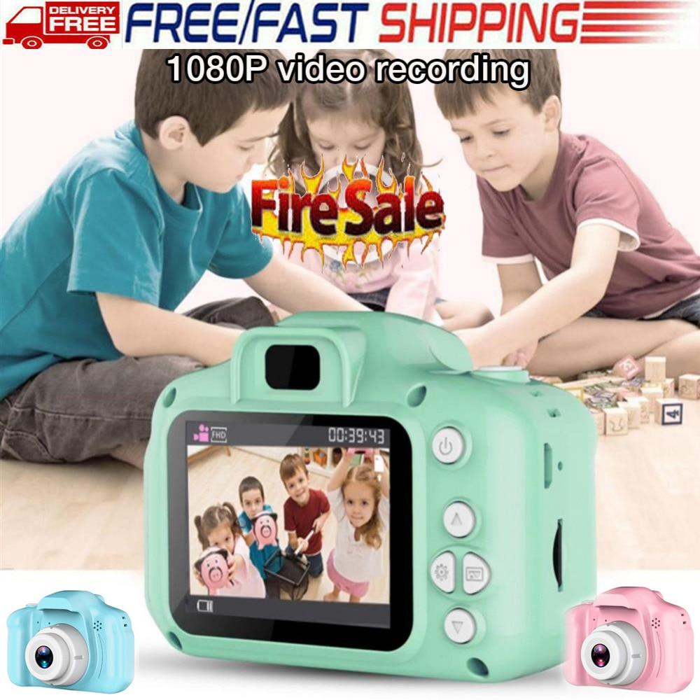 Hc6a674c3fbb44490a2df6c10d890f745h Children 1080P Digital Camera 2 Inch Screen Cute Cartoon Camera Toys Mini Video Camera Kids Child Gift