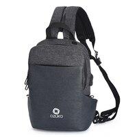 New Multifunctional Men's Chest Bag USB Charging Headset Multi function Casual Shoulder Messenger Bag