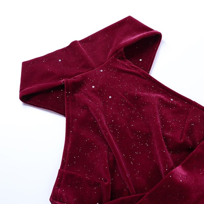 Robe de soirée mi-longue en velours à paillettes, dos nu, élégante, sans manches, à bandes croisées, Slim, fendue dans le dos